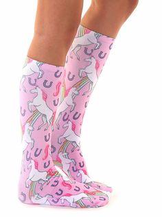 Unicorn & Rainbows Knee High Socks