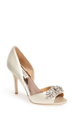 Badgley Mischka 'Giana' Satin d'Orsay Pump (Women) at Nordstrom.com. An array of sparkling crystals will catch the light <i>just so</i> each time you take a step across the room in an elegant peep-toe d'Orsay pump.