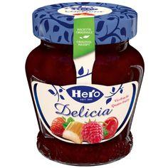 Vierfrucht Hero Delicia  60% Fruchtanteil machen die neue Hero Delicia Vierfrucht zur fruchtigsten und besten Vierfruchtkonfitüre der Schweiz. Ketchup, Salsa, Jar, The Originals, Bottle, Food, Original Recipe, Switzerland, World