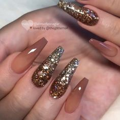 77 trendy brown nail art designs and ideas in 2019 Fancy Nails, Trendy Nails, Cute Nails, Brown Nail Art, Brown Nails, Coffin Nails Long, Long Nails, Thanksgiving Nails, Nagel Gel