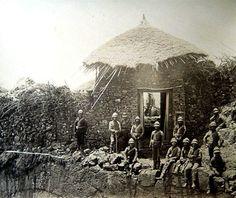 British troops posing at a captured sentry post above Koket-Bir gate at Magdala fortress.