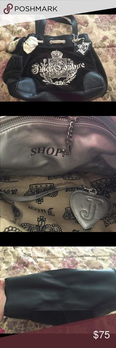 Beautiful condition large black Juicy Couture Hobo Beautiful condition large black, velour, timeless designer Juicy Couture Hobo bag with cream, satin ribbon!! Very popular, chic, elegant & roomy! No rips, tears, broken handles, scuffs! Worn out once!!! Juicy Couture Bags Hobos
