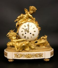 19th C. French Bronze & Marble Figural Clock : Lot 0015