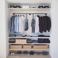 Idea: remove closet doors to leave open and to make shelving room. Doors can be put under or behind bed.