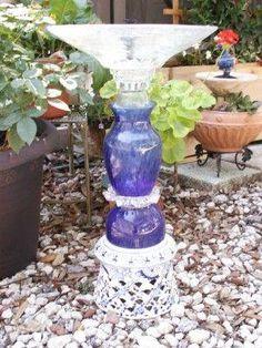 DIY garden fountain : DIY Upcycled solar powered garden fountain/ bird bath