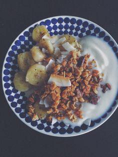 Fried banana with vanilla granola yoghurt coconut