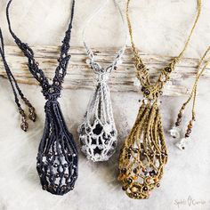Spirit Carrier crystal pod, for wearing interchangeable loose crystals - www.spiritcarrier.com #macrame #crystals