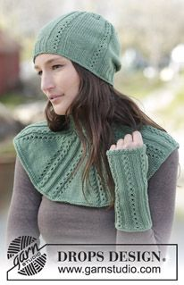 "Set consists of: Knitted DROPS hat, wrist warmers and neck warmer with small cables and rib in ""Cotton Merino"". ~ DROPS Design"