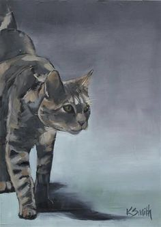 K Smith painting, cat