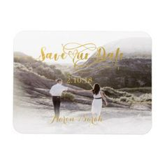 Faux Gold Foil Save our Date Vintage Magnet - bride gifts bridal ideas unique personalize