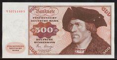 German banknotes500 DM Deutsche Mark banknote,issued by the Deutsche Bundesbank (German Federal Bank) -2.01.1980.