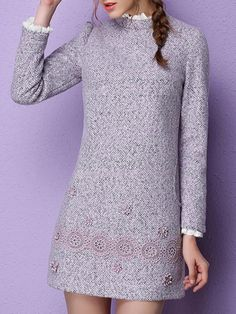 Multicolor Appliqued Long Sleeve Polyester Mini Dress