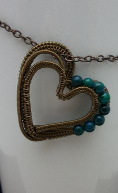 Wire Wrapped Heart Pendant in Antique by BuyThePlaceWithBeads, $25.00