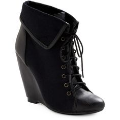 Spiced Cider Bootie in Black ($31) ❤ liked on Polyvore featuring shoes, boots, ankle booties, heels, wedges, black, ankle boots, wedge booties, high heel boots and high heel bootie