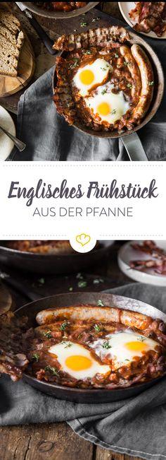 Für alle, die es morgens deftig lieben, kommt das englische Frühstück wie gerufen. Das Beste von Speck bis Eiern bereitest du alles in einer Pfanne zu.
