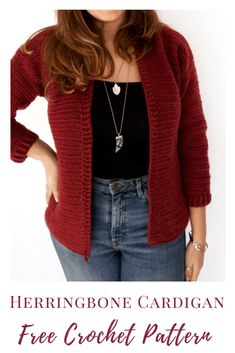 Hibiscus Free Crochet Cardigan Pattern - Burgundy and Blush A free crochet cardigan pattern using the herringbonedouble crochet stitch and perfect for beginners making their first cardigan or garment! Crochet Cardigan Pattern Free Women, Knit Cardigan Pattern, Ladies Cardigan Knitting Patterns, Crochet Patterns Free Women, Sweater Patterns, Crochet Designs, Crochet Gratis, Knit Crochet, Crochet Stitch