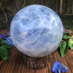 Excited to share this item from my shop: Huge Blue Calcite Crystal Sphere, Crystals Ball Marble, Spiritual Witchy Decor, Chakra Stone Diy Crystals, Chakra Crystals, Blue Crystals, Crystals And Gemstones, Stones And Crystals, Blue Calcite, Calcite Crystal, Crystal Sphere, Crystal Ball