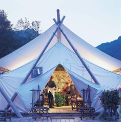 The great outdoors just outside the tent flap and all luxury inside. Yes! Glamping #Tent #Luxury Spaces #Small Spaces