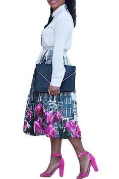 Tulips in The City Print Pleated Midi Skirt #midiskirt #skirts #fashion
