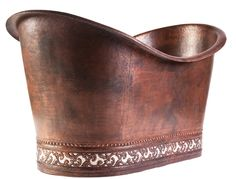 Double Slipper Copper Tub with Two Tone Scroll Base | Available at CopperSinksOnline.com