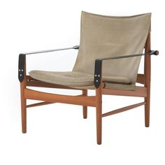 Teak and Suede Sling Chairs 4