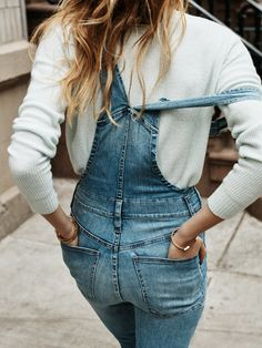 madewell bayfront crop overalls worn with the warmlight pullover.