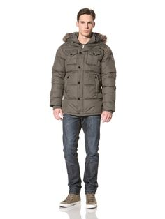 90% OFF No Excess Men's Puffer Jacket with Faux Fur Trim Hood Jacket (Army)