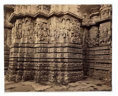 Portion of the west face of the Hoysaleshvara Temple | Lyon, Edmund David.India (photographed).1867-1868 (photographed).The Hoysala dynasty ruled the southern Deccan from about 1100-1350. This temple represents the climax of the Hoysala architectural style.