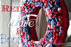 She's {kinda} Crafty: Red, White, and BOOM | An Independence Day Wreath