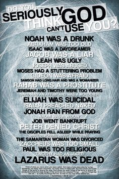 Love, love, love this! Shows clearly how God uses broken people for His glory! Thankful... :-)