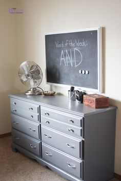 Furniture redo - dresser painted gray.. I'm going to try this with Connors furniture!!