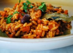 Tomato risotto with beans