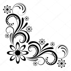 Ornaments for the letters Stencil Patterns, Stencil Art, Stencil Designs, Paint Designs, Mandala Art, Boarder Designs, Page Borders Design, Art Floral, Coin D'art