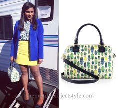 Mindy Kaling Instagrammed one of her favorite outfits from season 3 of The Mindy Project today, in which she matches her beetle print bag to her beetle print buttondown. /// Tory Burch Robinson Middy...