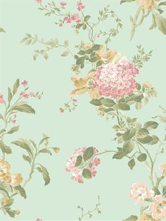 Neutrals in pearled shimmer, fashionable aqua or classic black act as the backdrop to this mid-sized allover toss of large branches incorporating pretty flowers of variety and tiny songbirds. These blossoms have the feel of a wildflower toss mixed with greens and small trailing vines. Classically beautiful, they pair well with stripe and trellis motifs whose structural nature is a balancing contrast.
