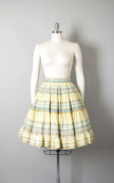 Vintage 1950s Circle Skirt   50s Patio Skirt Cream Cotton Metallic Ric Rac Ribbon Striped Square Dance Skirt (xs/small)   Birthday Life Vintage on Etsy