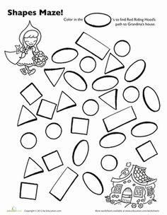 Preschool Mazes Shapes Worksheets: Red Riding Hood Shape Maze