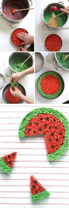 Watermelon Rice Krispie cake!   ~ we ❤ this! moncheriprom.com #ricekrispiedesserts