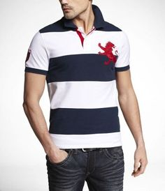 FITTED EXTRA-LARGE LION RUGBY POLO at Express