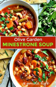 Minestrone Soup recipe ~ hearty, healthy Olive Garden copycat recipe, but way better. Rich tomato broth loaded with vegetables and beans. Ministrone Soup, Olive Garden Minestrone Soup, Minestrone Soup Recipes, Italian Soup, Pudding, Fresh Vegetables, Copycat Recipes, The Fresh, Salad