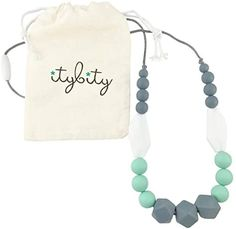 Amazon.com : The Original Baby Teething Necklace for Mom, Silicone Teething Beads, 100% BPA Free (Gray, Mint, White, Gray) : Baby Teething Necklace For Mom, Teething Jewelry, Teething Beads, Nursing Necklace, Breastfeeding Necklace, Teething Relief, Baby Teethers, Gifts For New Moms, Thoughtful Gifts