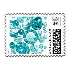 Elegant Sparkle Girly Turquoise Crystals Bling Gem Postage Stamp