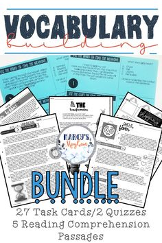 Vocabulary Building Activities using Reading Comprehension & Task Cards Bundle Teaching Vocabulary, Vocabulary Practice, Vocabulary Activities, Teaching Reading, Fluency Practice, Class Activities, Teaching Ideas, Reading Comprehension Strategies, Context Clues