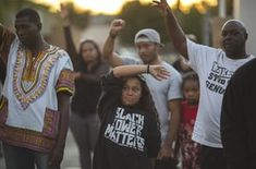 A protest in El Cajon, California, following the fatal police shooting of Alfred Olango, an unarmed black man, in 2016.