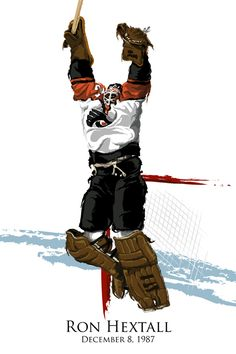Ron Hextall Scores by ~DavidEWilkinson on deviantART--  1st goalie to shoot the puck for a goal. Also, in true Broad Street Bully fashion holds the top 3 spots for most penalty minutes in a season for a goalie. Flyers Players, Flyers Hockey, Ice Hockey Teams, Hockey Rules, Hockey Goalie, Field Hockey, Hockey Players, Hockey Stuff, Sports Teams