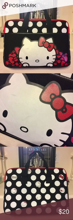 """Hello Kitty 15 inch Laptop Bag Super cute Hello Kitty black & white polka dot laptop case with red trim & details, suitable for a 15"""" screen. Cute & protective! Glitter on the bow. Kitty face has a few small stains but they're not too noticeable, otherwise in excellent condition. Hello Kitty Bags Laptop Bags"""