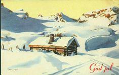 Julekort Jørgen Thorsrud utg Børrehaug og Rønning brukt 1944 Christmas Cards, Christmas Postcards, Norway, Painting, Art, Christmas E Cards, Art Background, Xmas Cards, Painting Art