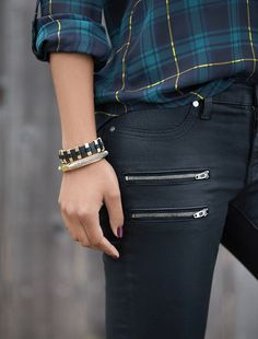 Take casual plaid for a bad-girl whirl with black coated denim & a vamp nail. #fixedonfall