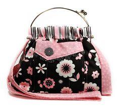 Pink Black Bag Shoulder Strap Retro Flowers by MysticRainCreations, $65.00