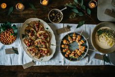 5 Easy Pieces: A Weeknight Holiday Party Menu - Crispy Smoky Chickpeas, Grape and Pine Nut Crostini, Za'atar Dip, Sesame Butternut Squash Skewers, Fizzy Grapefruit Punch Appetizer Buffet, Yummy Appetizers, Everyday Dishes, Sweet Home, Christmas Brunch, Holiday Dinner, Veggie Recipes, Free Recipes, Holiday Parties